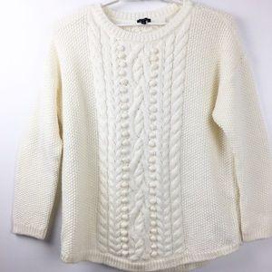 NWT Talbots Cable Knit Pom Pom Sweater Size XL